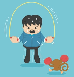 man jumping on ropes vector image vector image