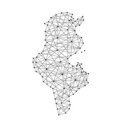 Map of tunisia from polygonal black lines and dots vector