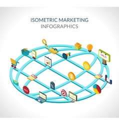 Marketing isometric infographics vector