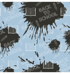 Seamless pattern Back to school on blue background vector image