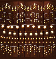 set of glowing christmas lights for xmas holiday vector image