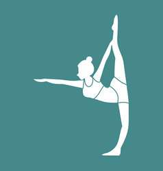 Silhouette of leg stretches yoga pose vector