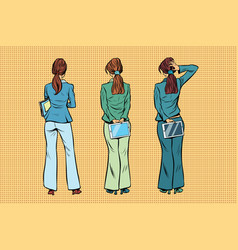 Slim businesswoman in trouser suits are back vector