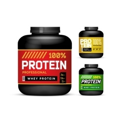 Sport nutrition containers weight gainers set vector