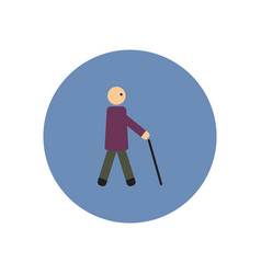 stylish icon in color circle man with stick vector image vector image