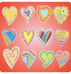 Twelve colored hearts vector image