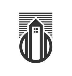 Urban city tower house skyline icon vector