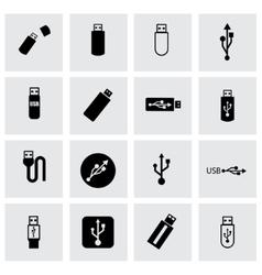 usb icon set vector image