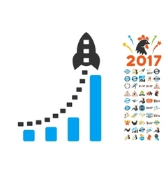 Rocket business bar chart icon with 2017 year vector