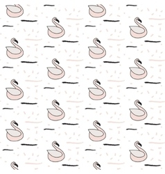 Pink swan seamless white pattern vector