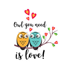Love couple owls with hearts on a tree vector