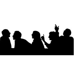 Silhouettes of people arguing with the boss vector