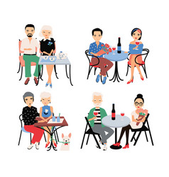 set of couples on romantic date young trendy vector image