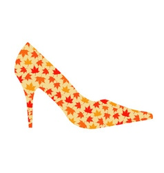 shoe with maple leaves vector image