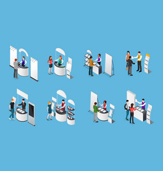 Promotional stands isometric set vector