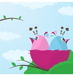Two cute little birds having a disagreement vector image