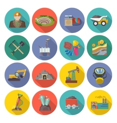 Mining icons flat vector