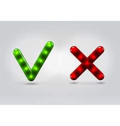 Submit and cancel 3D plastic icons vector image