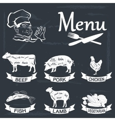 Set of meat symbols beef pork chicken lamb vector