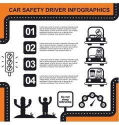 Car safety driver infographic with charts vector