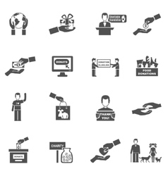 Charity black white icons set vector