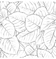 Black and white seamless background with leaves vector