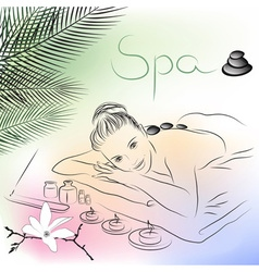 Girl lying down for a massage vector