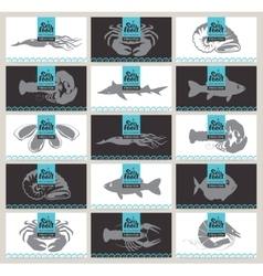 Set of business cards seafood vector