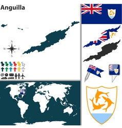 Anguilla map vector image