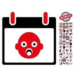 Baby head calendar day flat icon with bonus vector