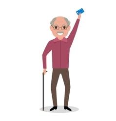 cartoon grandfather got plastic credit card vector image vector image