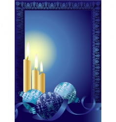 Christmas candle frame vector