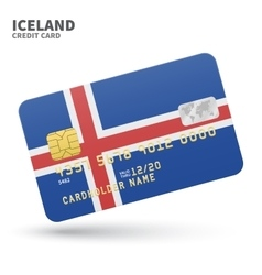 Credit card with Iceland flag background for bank vector image vector image