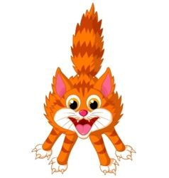 Cute cat cartoon screaming vector