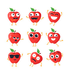 Funny apples - isolated cartoon emoticons vector