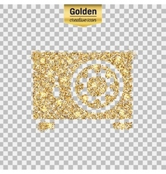Gold glitter icon of safe box isolated on vector