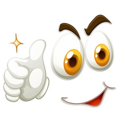 Happy face with thumb up vector image vector image
