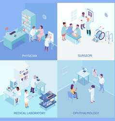 Health care center 2x2 design concept vector