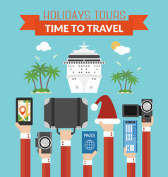 Holidays tours time to travel design modern flat vector