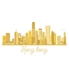 Hong kong china city skyline golden silhouette vector
