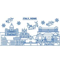 italy rome winter city skyline merry christmas vector image