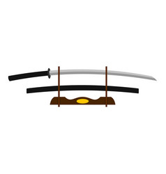 katana on wooden stand icon isolated vector image