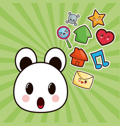 Kawaii bear character social media image vector