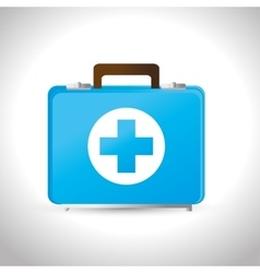 Kit first aid medicine emergency service vector