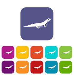 lizard icons set vector image vector image