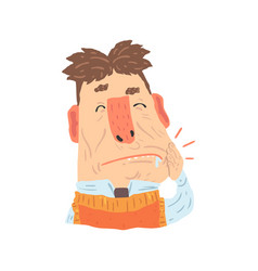 man suffering from toothache pain cartoon vector image
