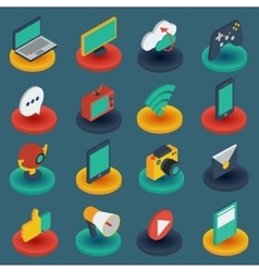 Media isometric icons on round bases vector