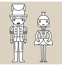 Nutcracker Soldier And Ballerina vector image