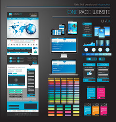 One page website flat UI UXdesign template vector image vector image