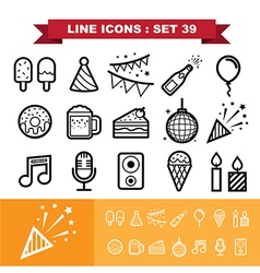 Party line icons set 39 vector image